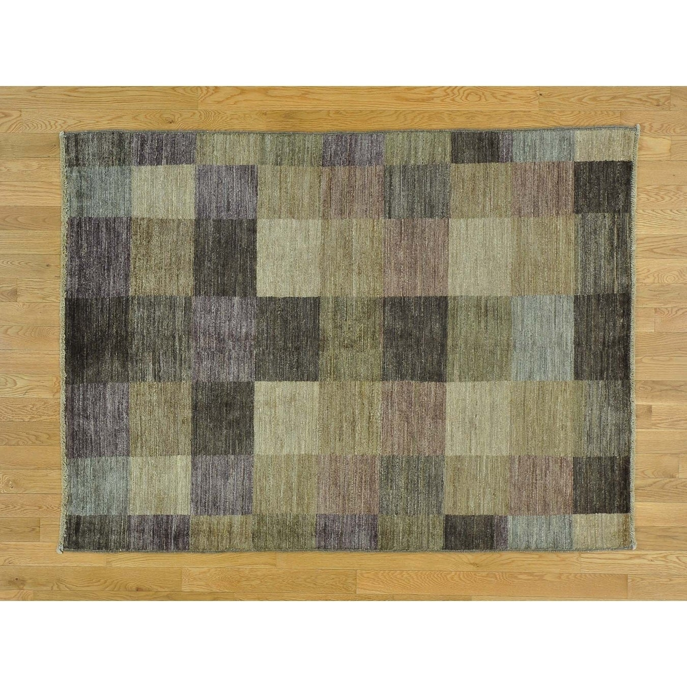 Hand Knotted Multicolored Modern & Contemporary with Wool Oriental Rug - 49 x 64