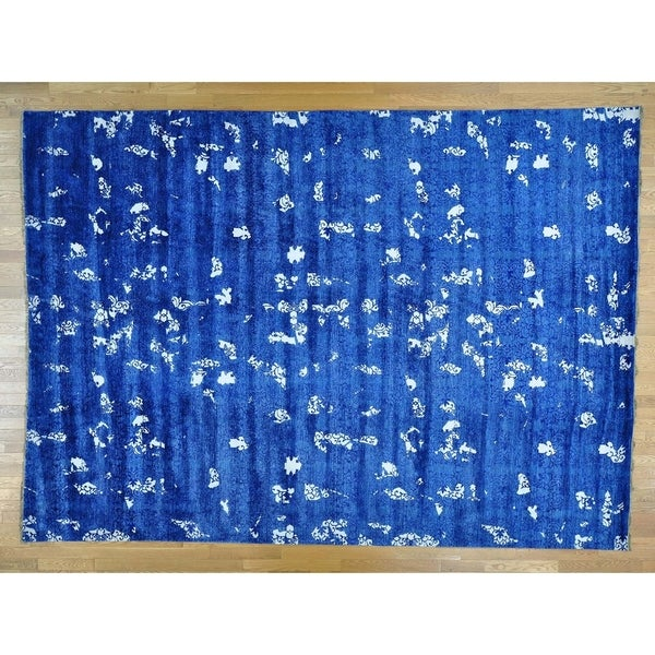 Hand Knotted Blue Modern & Contemporary with Art Silk Oriental Rug - 10' x 13'10