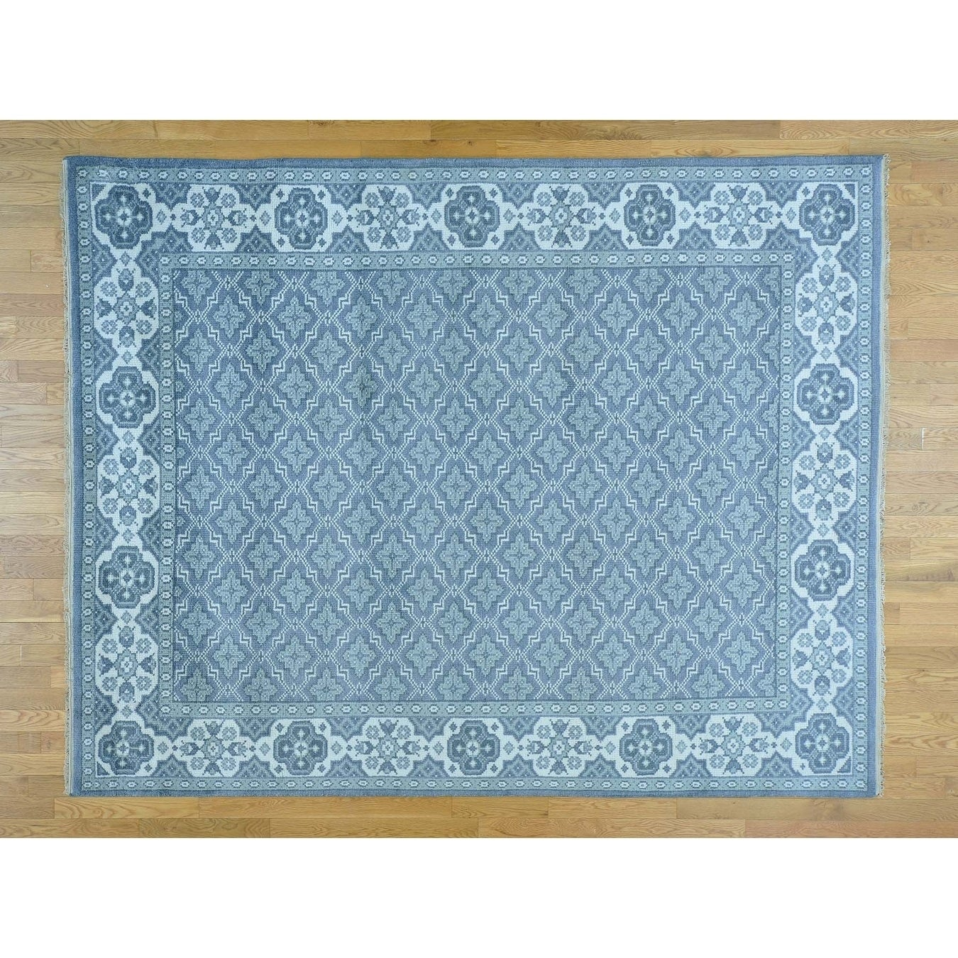 Hand Knotted Blue Oushak And Peshawar with Wool Oriental Rug - 8 x 10