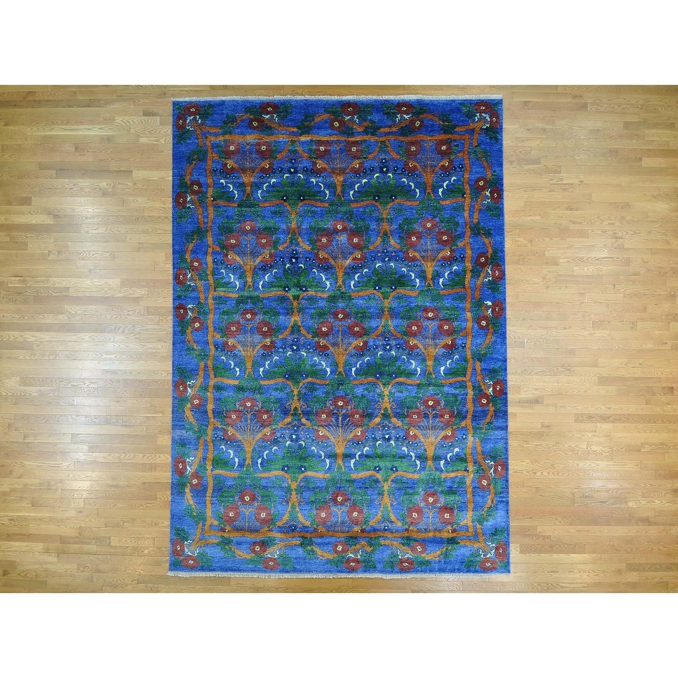 Hand Knotted Blue Arts And Crafts with Art Silk Oriental Rug - 10 x 14