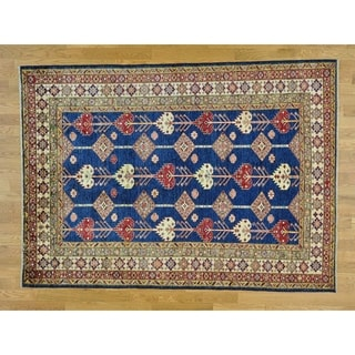 Hand Knotted Blue Kazak with Wool Oriental Rug - 5'6 x 7'8