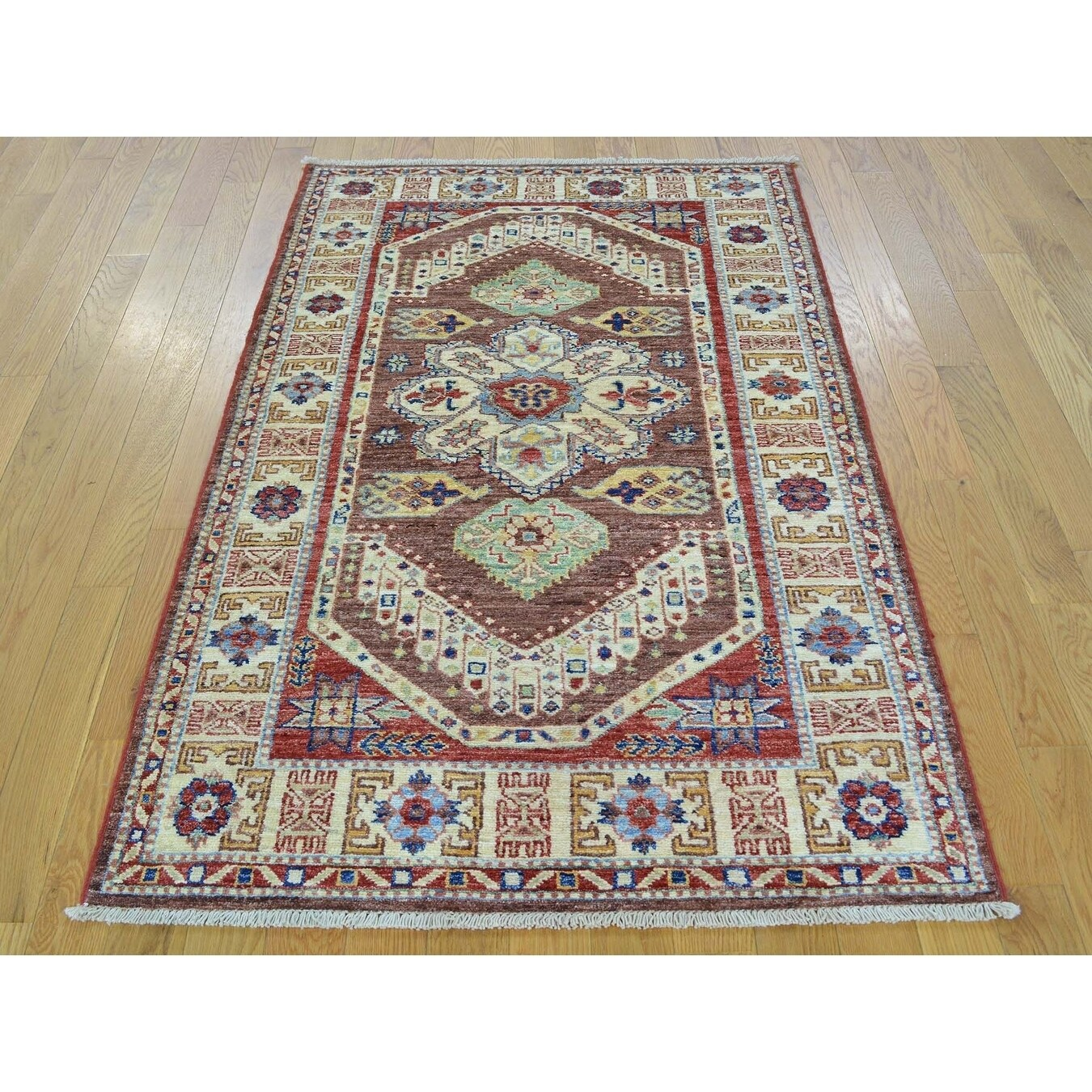Hand Knotted Brown Kazak with Wool Oriental Rug - 32 x 51