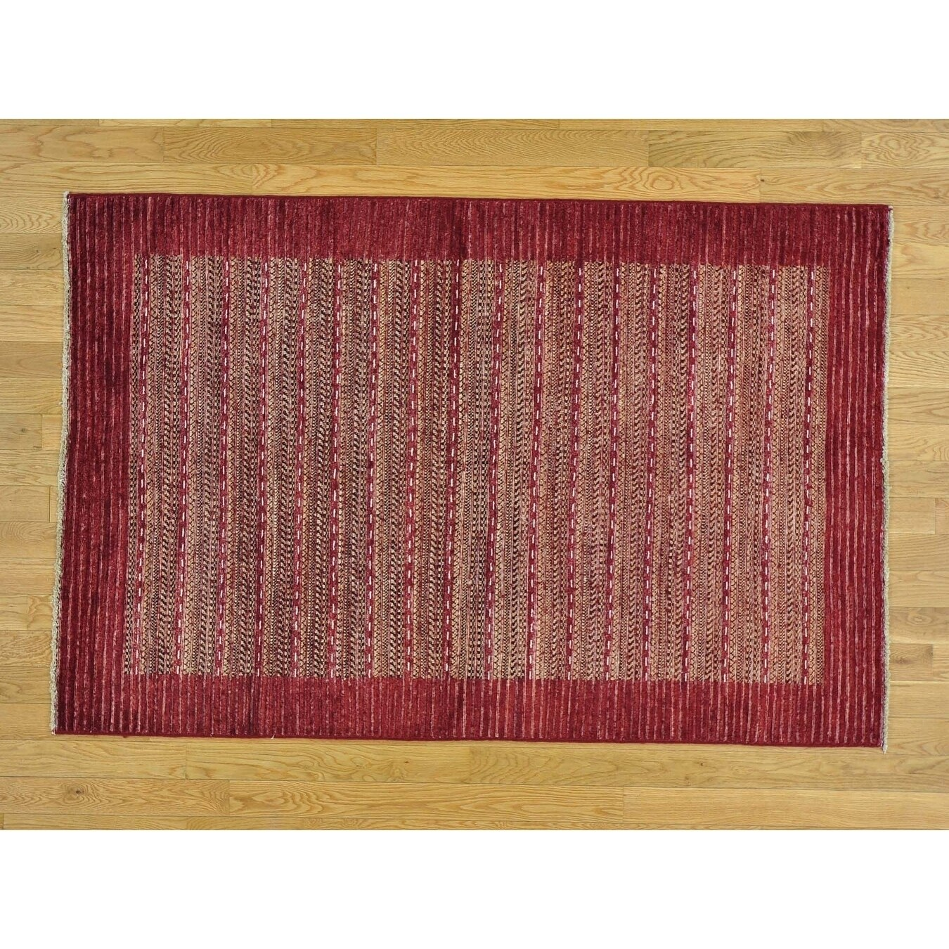 Hand Knotted Red Modern & Contemporary with Wool Oriental Rug - 4 x 61