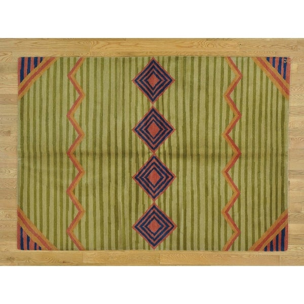 Hand Knotted Green Modern & Contemporary with Wool Oriental Rug - 5' x 7'