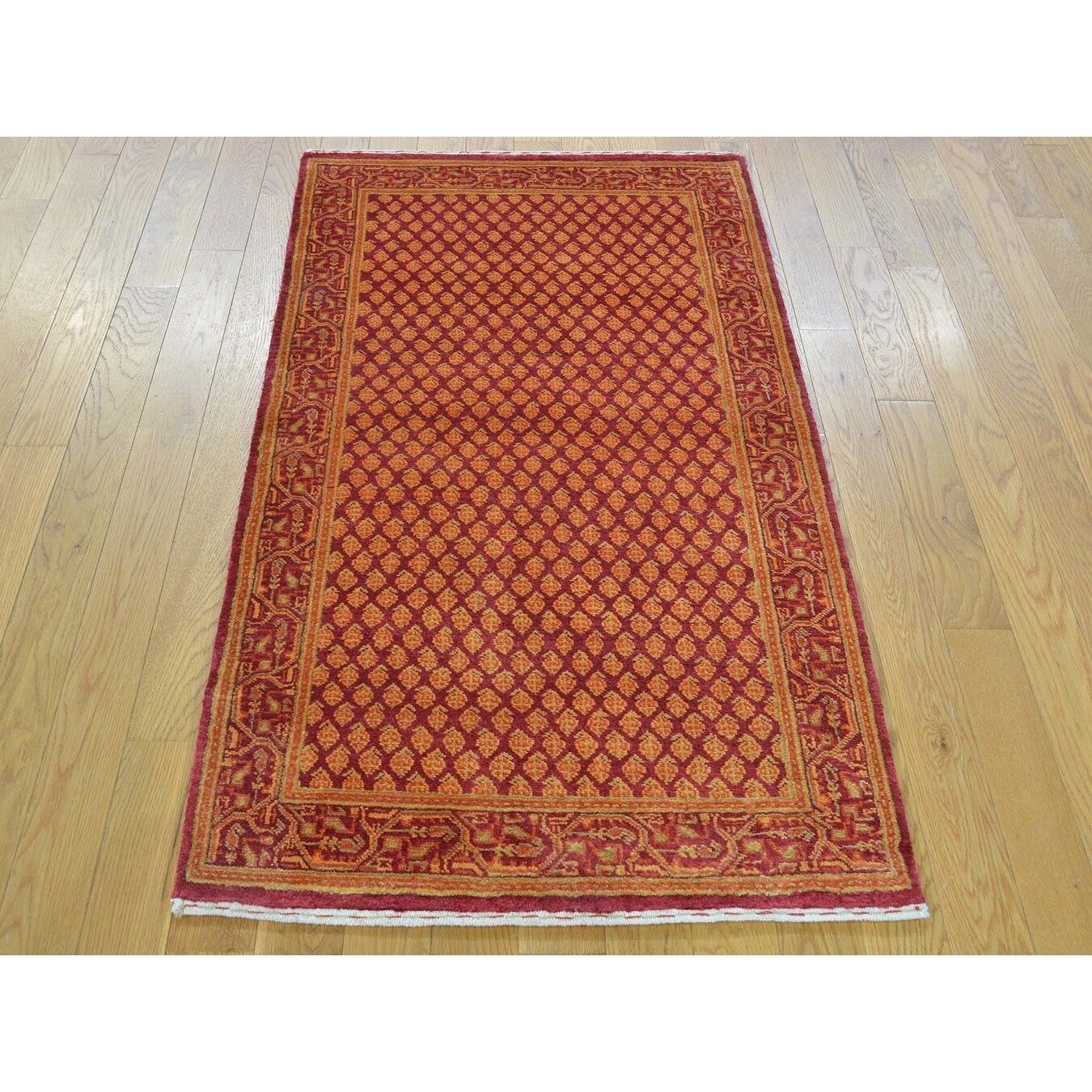 Hand Knotted Red Overdyed & Vintage with Wool & Silk Oriental Rug - 25 x 47
