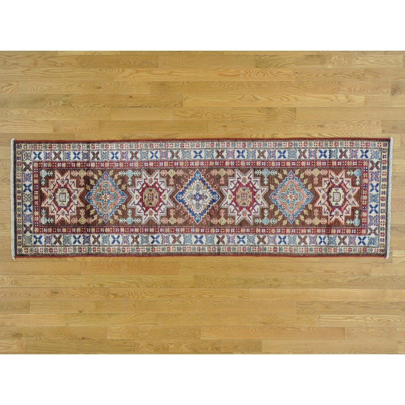 Hand Knotted Brown Kazak with Wool Oriental Rug - 25 x 710