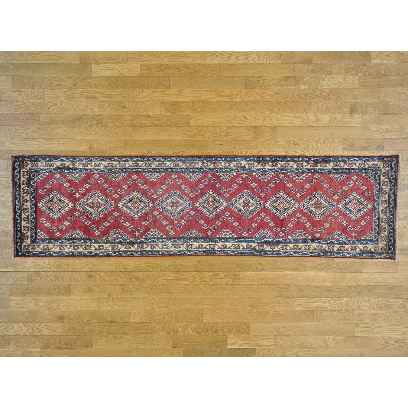 Hand Knotted Red Kazak with Wool Oriental Rug - 29 x 105
