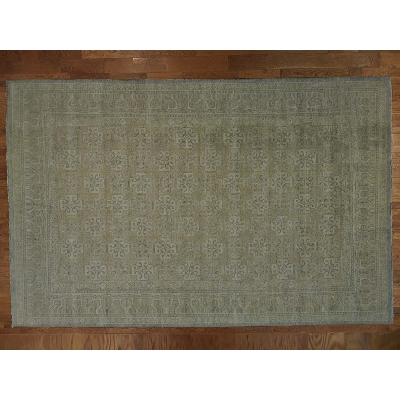 Hand Knotted Beige Khotan and Samarkand with Wool Oriental Rug