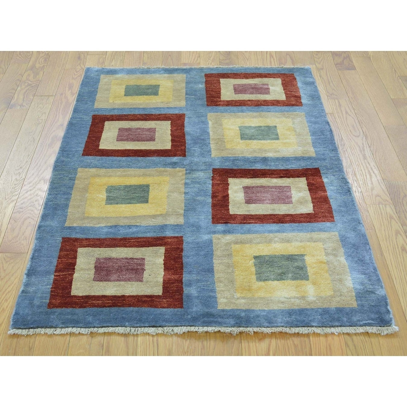 Hand Knotted Blue Clearance with Wool Oriental Rug - 32 x 46