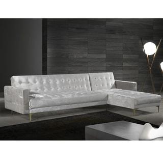 Chic Home Kiefer Convertible Sectional Sofa Bed Velvet Upholstered