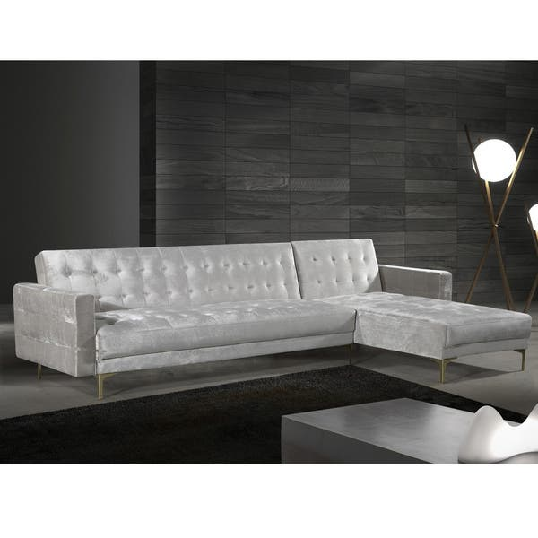 Shop Chic Home Kiefer Convertible Sectional Sofa Bed Velvet ...