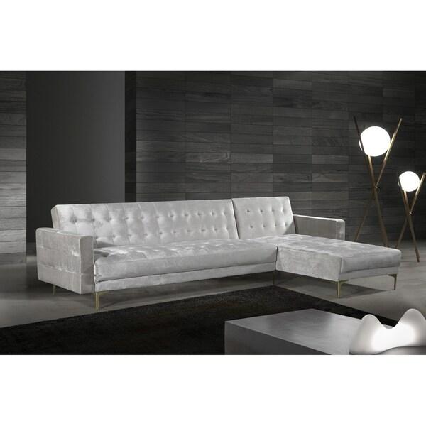 shop chic home kiefer convertible sectional sofa bed velvet upholstered on sale free. Black Bedroom Furniture Sets. Home Design Ideas