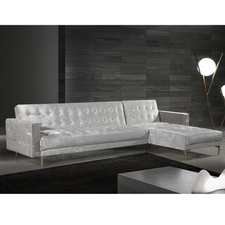 Chic Home Kiefer Convertible Sectional Sofa Bed Velvet Upholstered