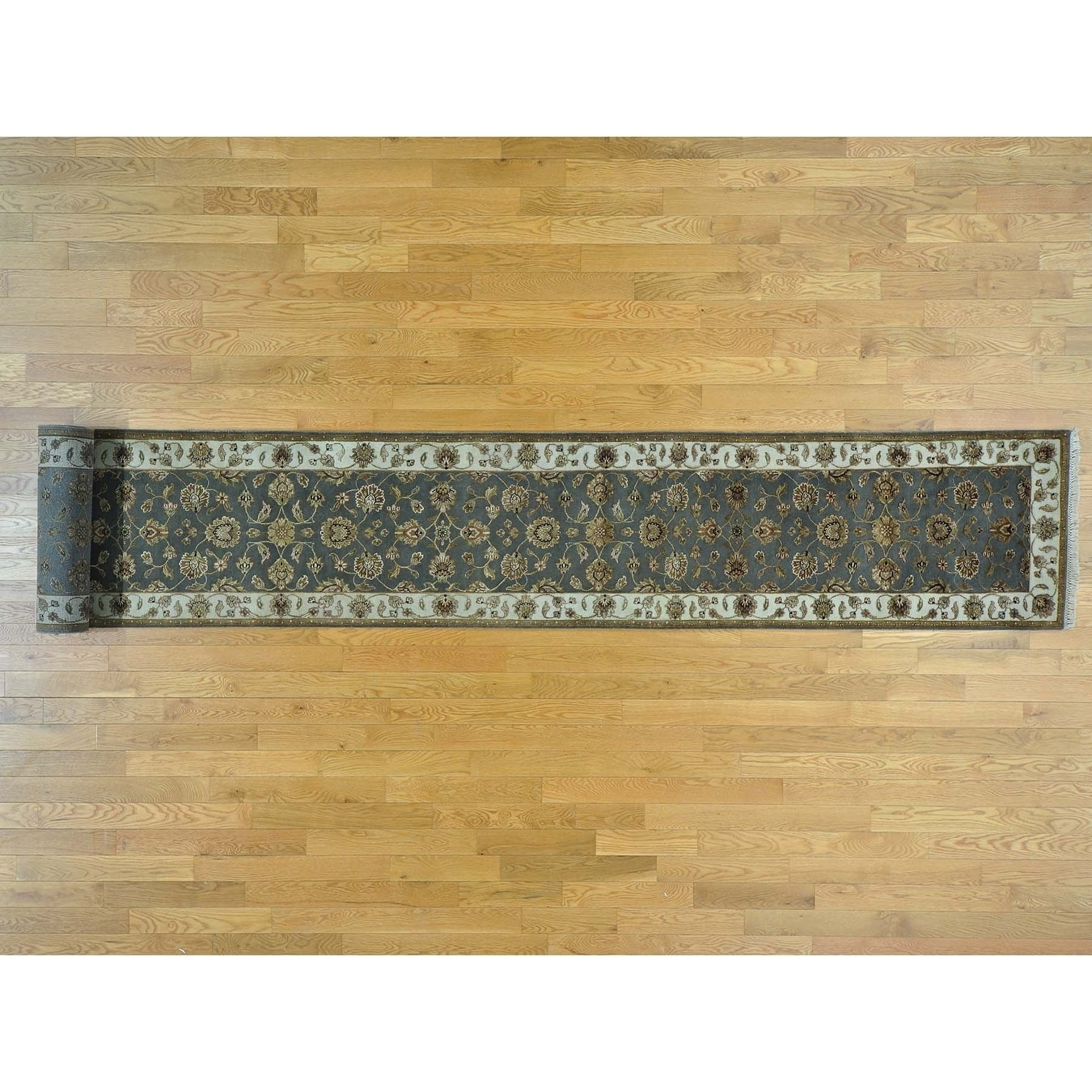Hand Knotted Grey Rajasthan with Wool & Silk Oriental Rug
