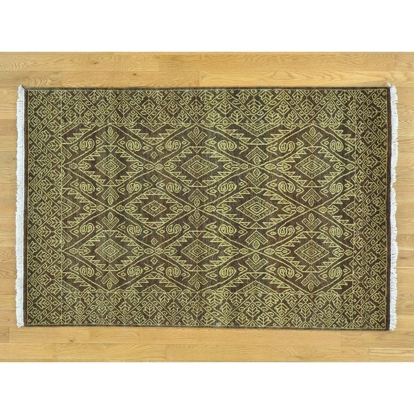 Hand Knotted Brown Modern & Contemporary with Wool Oriental Rug - 4'1 x 6'2