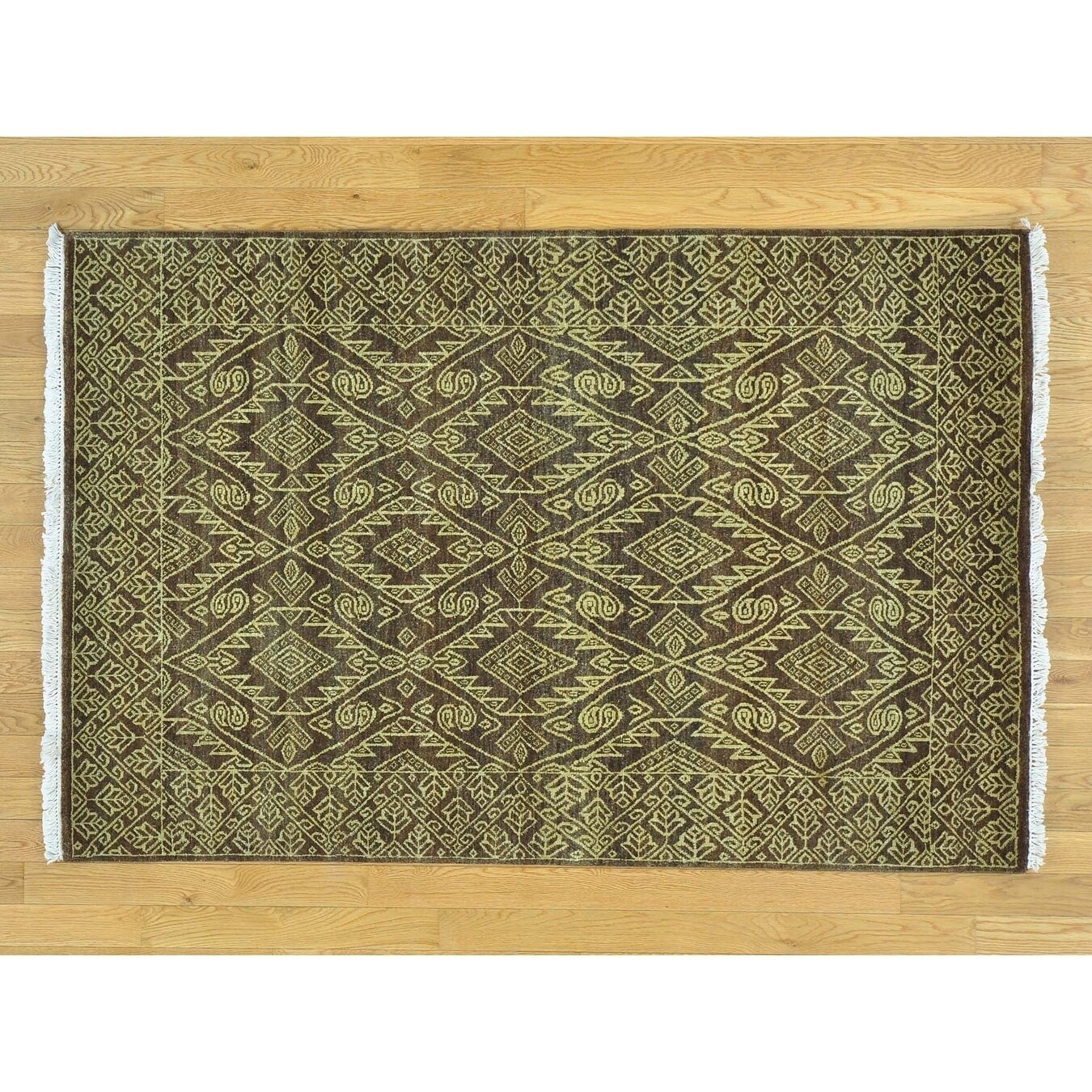 Hand Knotted Brown Modern & Contemporary with Wool Oriental Rug - 41 x 62