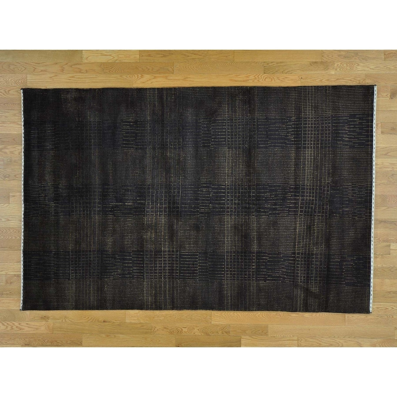 Hand Knotted Brown Clearance with Wool & Silk Oriental Rug - 52 x 8