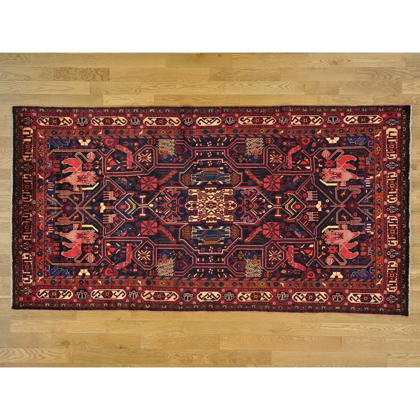 Hand Knotted Blue Persian with Wool Oriental Rug - 51 x 10