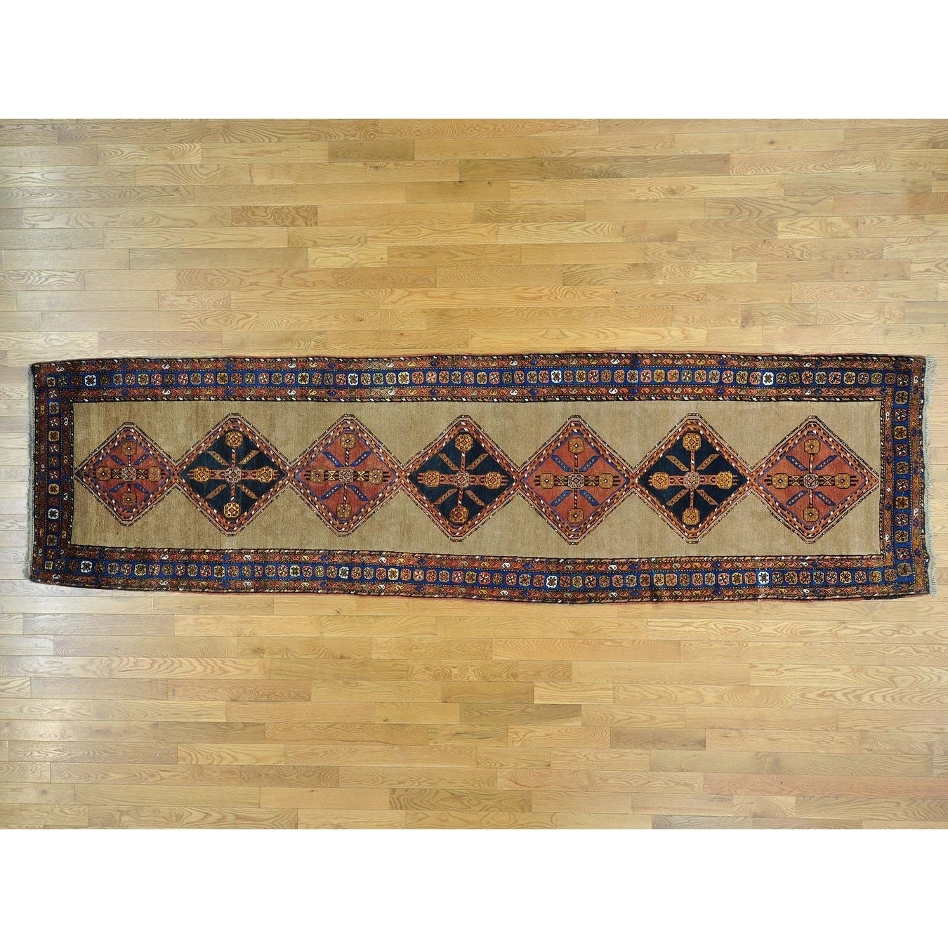 Hand Knotted Grey Antique with Wool Oriental Rug - 39 x 144
