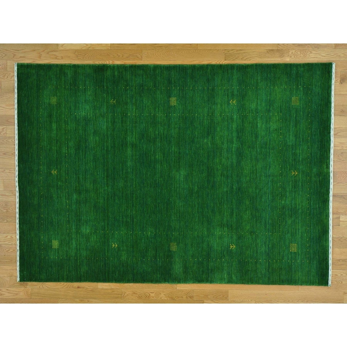 Hand Knotted Green Modern & Contemporary with Wool Oriental Rug - 56 X 710