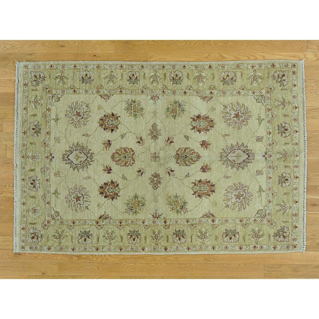 Hand Knotted Beige Oushak And Peshawar with Wool Oriental Rug - 4 x 510