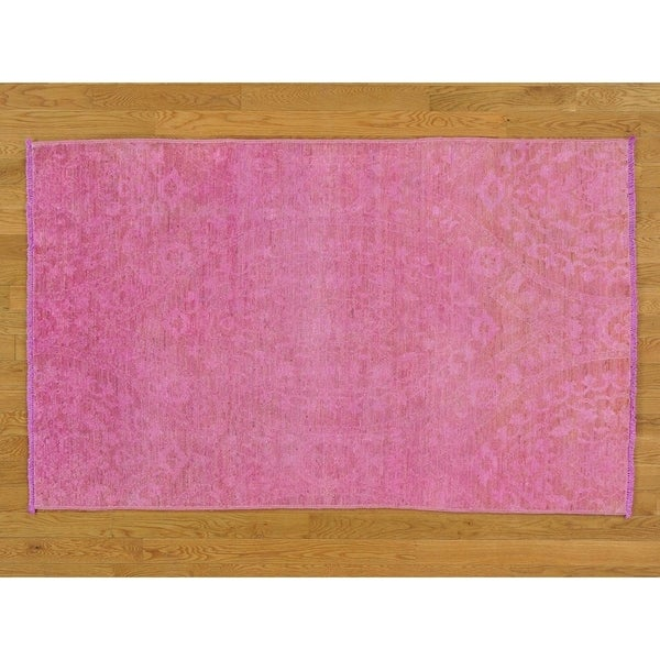 Hand Knotted Pink Oushak And Peshawar with Wool Oriental Rug - 4' x 6'5