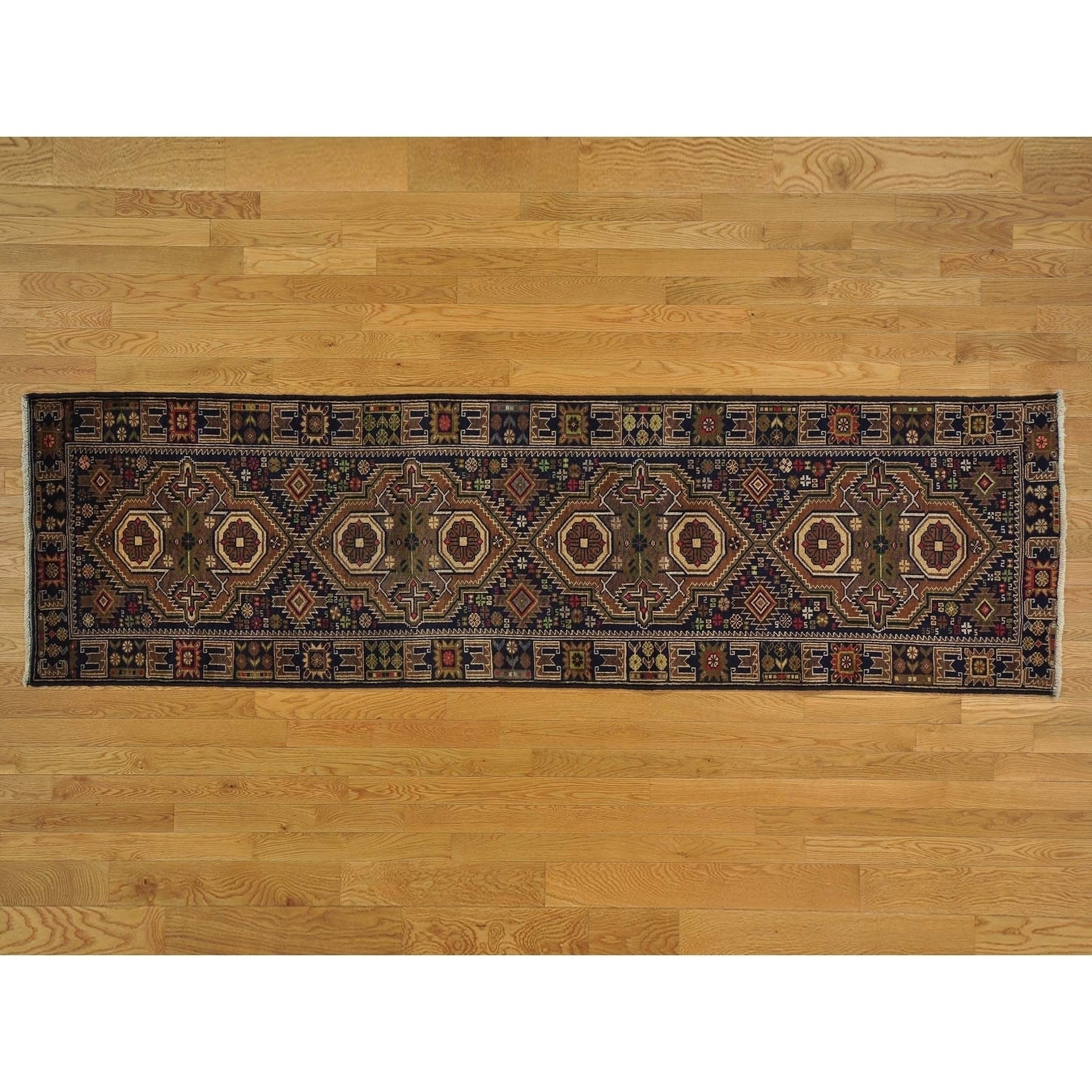 Hand Knotted Blue Tribal & Geometric with Wool Oriental Rug - 2'10 x 10'