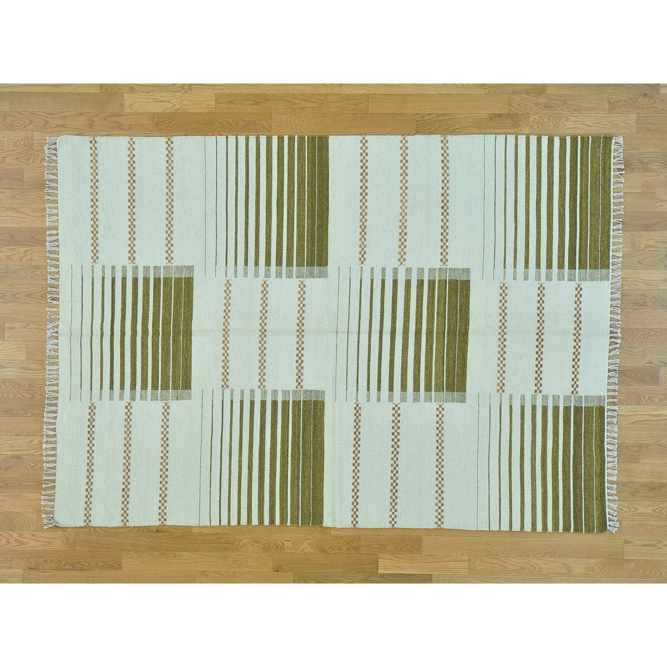 Hand Knotted Ivory Flat Weave with Wool Oriental Rug - 5'7 x 8'
