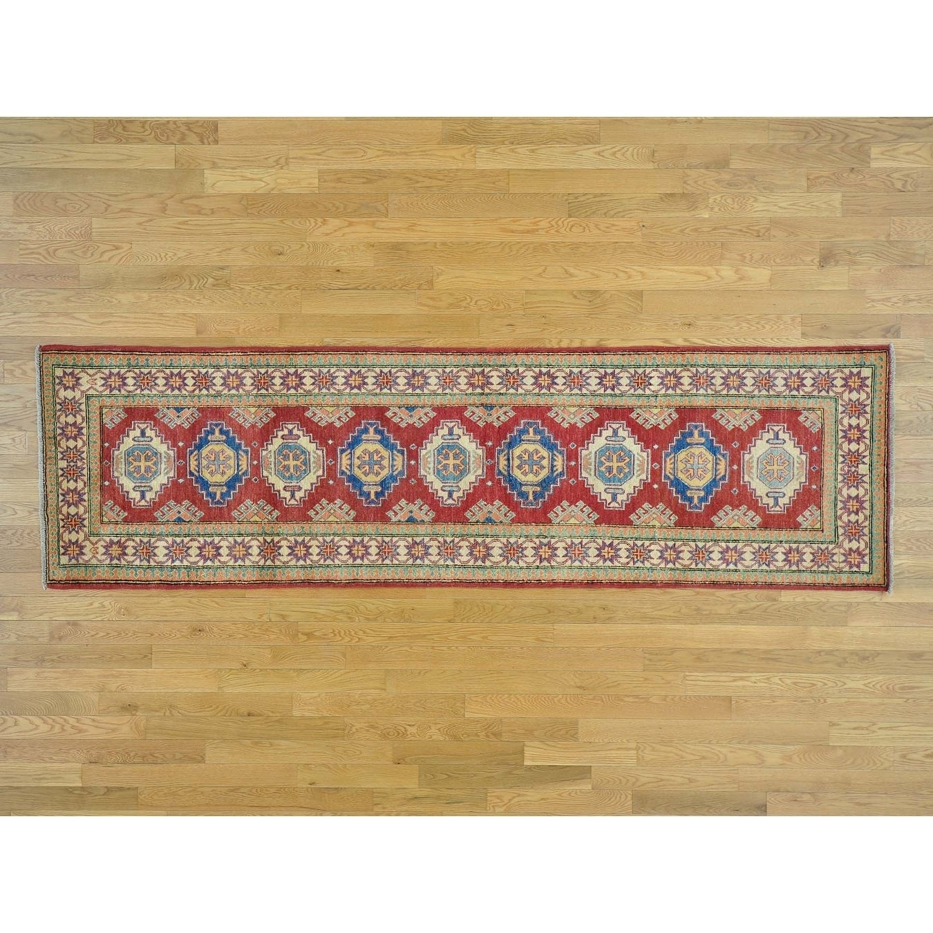 Hand Knotted Red Kazak with Wool Oriental Rug - 28 x 97