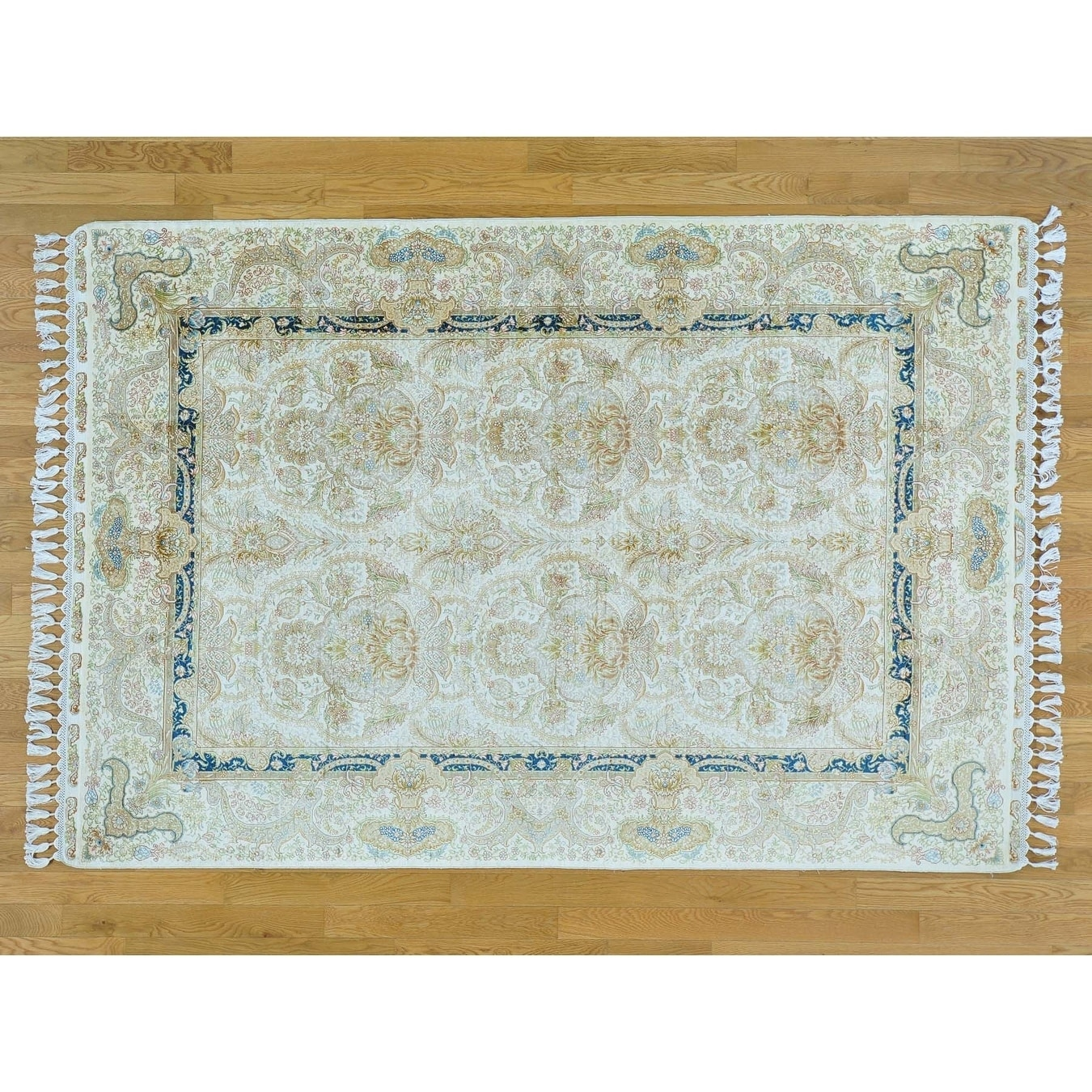 Hand Knotted Ivory Fine Oriental with Silk Oriental Rug - 5'7 x 8'2