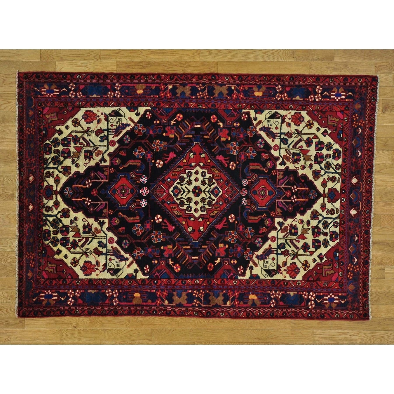 Hand Knotted Black Persian with Wool Oriental Rug - 5'2 x 7'8