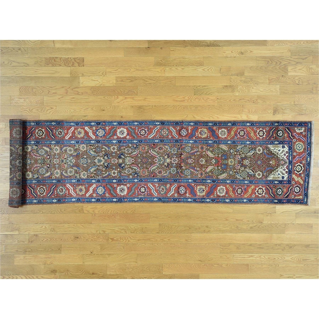 Hand Knotted Brown Antique with Wool Oriental Rug - 3 x 136