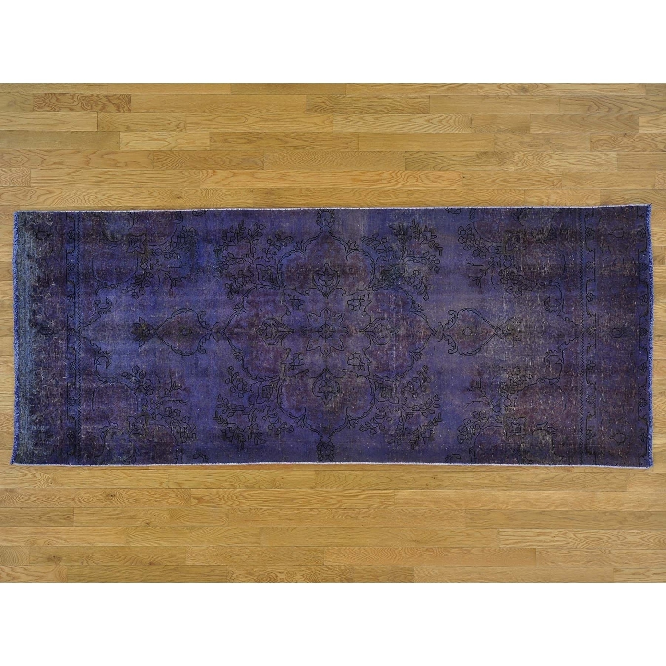 Hand Knotted Purple Overdyed & Vintage with Wool Oriental Rug