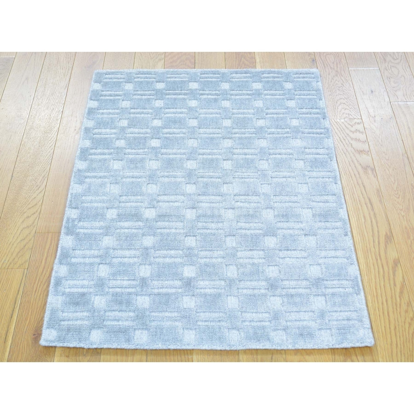 Hand Knotted Grey Modern & Contemporary with Wool & Silk Oriental Rug - 2' x 3'