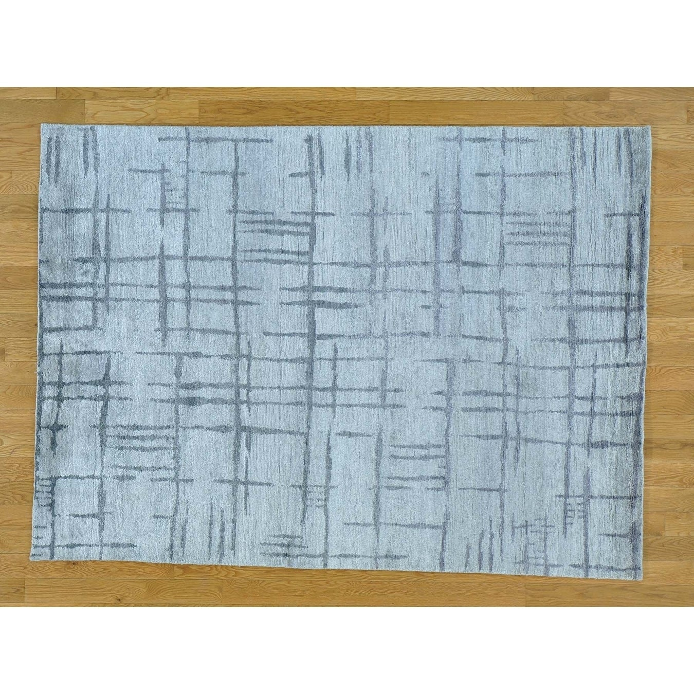 Hand Knotted Grey Modern & Contemporary with Wool & Silk Oriental Rug - 5'1 x 7'