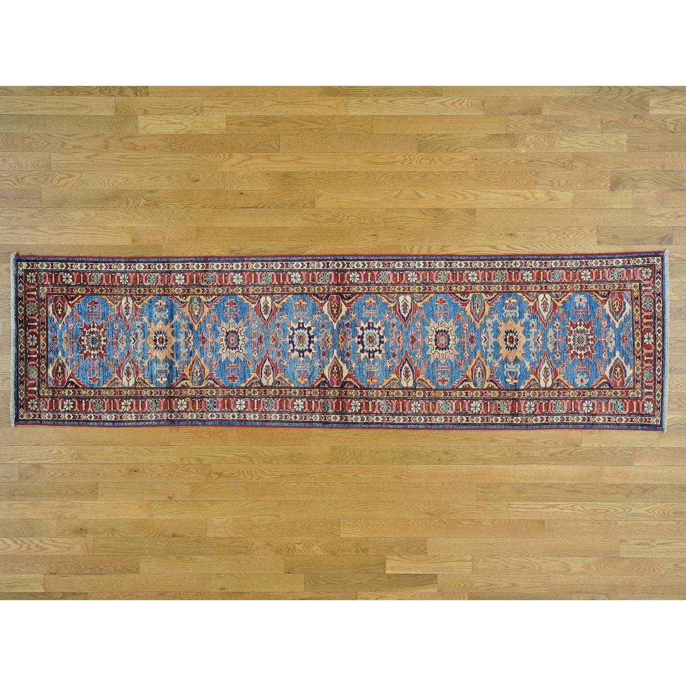 Hand Knotted Blue Kazak with Wool Oriental Rug - 2'7 x 9'8