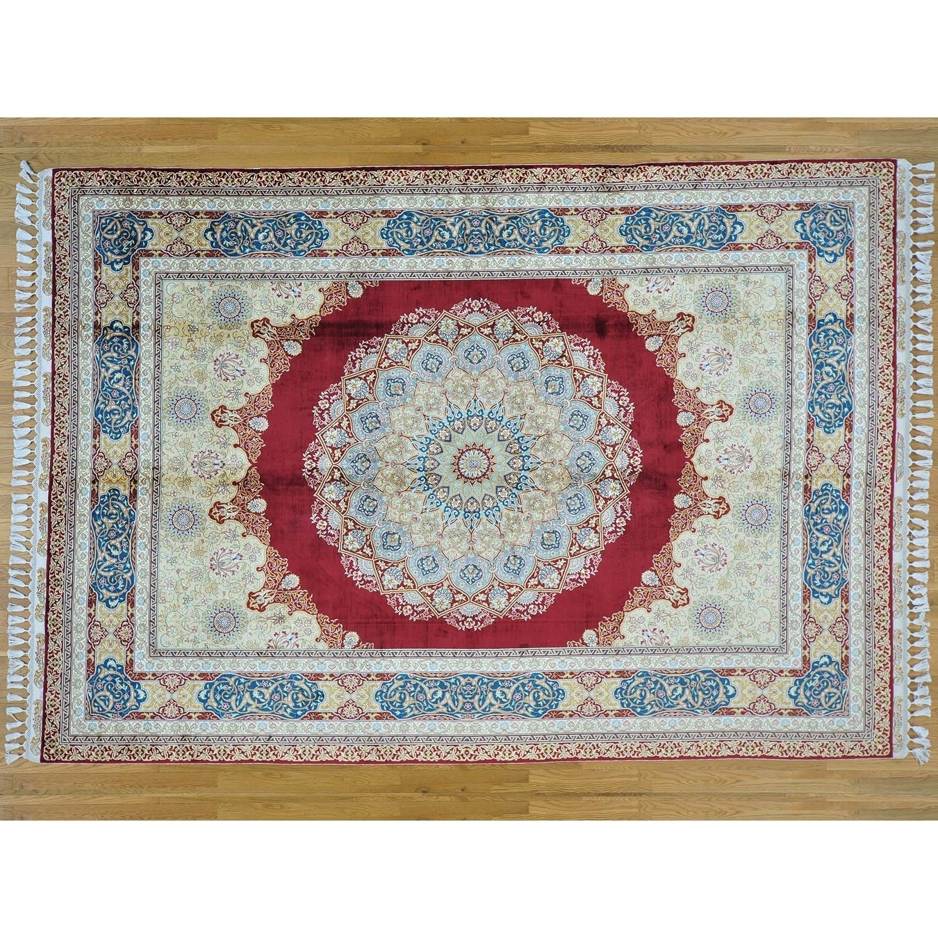 Hand Knotted Red Fine Oriental with Silk Oriental Rug - 7'1 x 10'2
