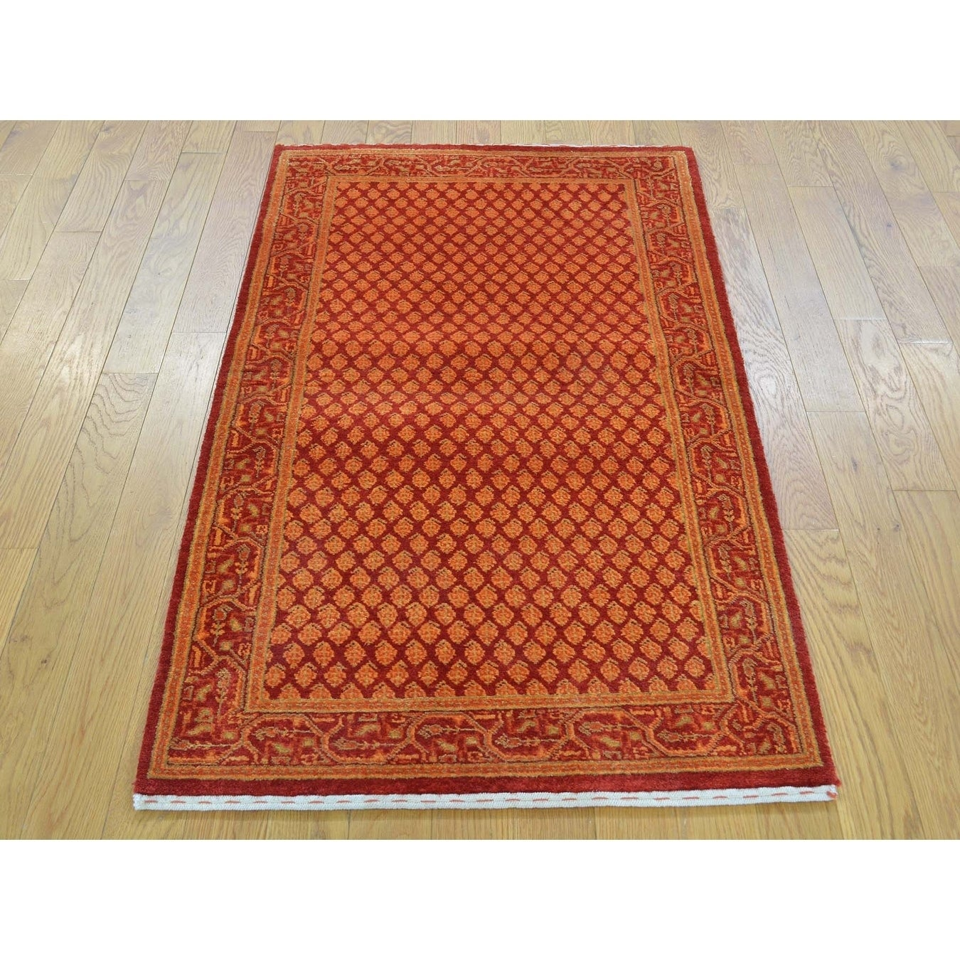 Hand Knotted Red Overdyed & Vintage with Wool & Silk Oriental Rug - 25 x 46