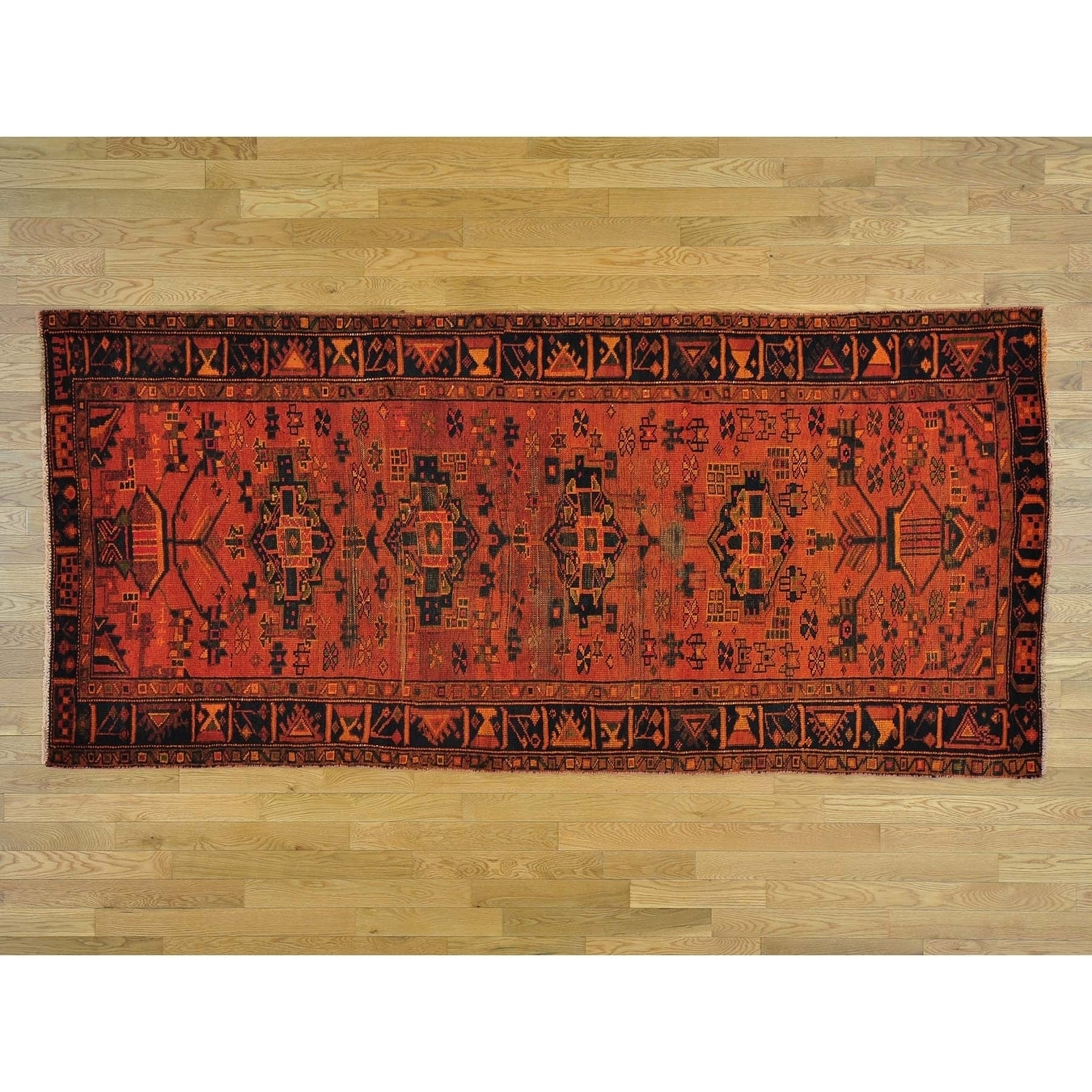 Hand Knotted Orange Overdyed & Vintage with Wool Oriental Rug - 44 x 95