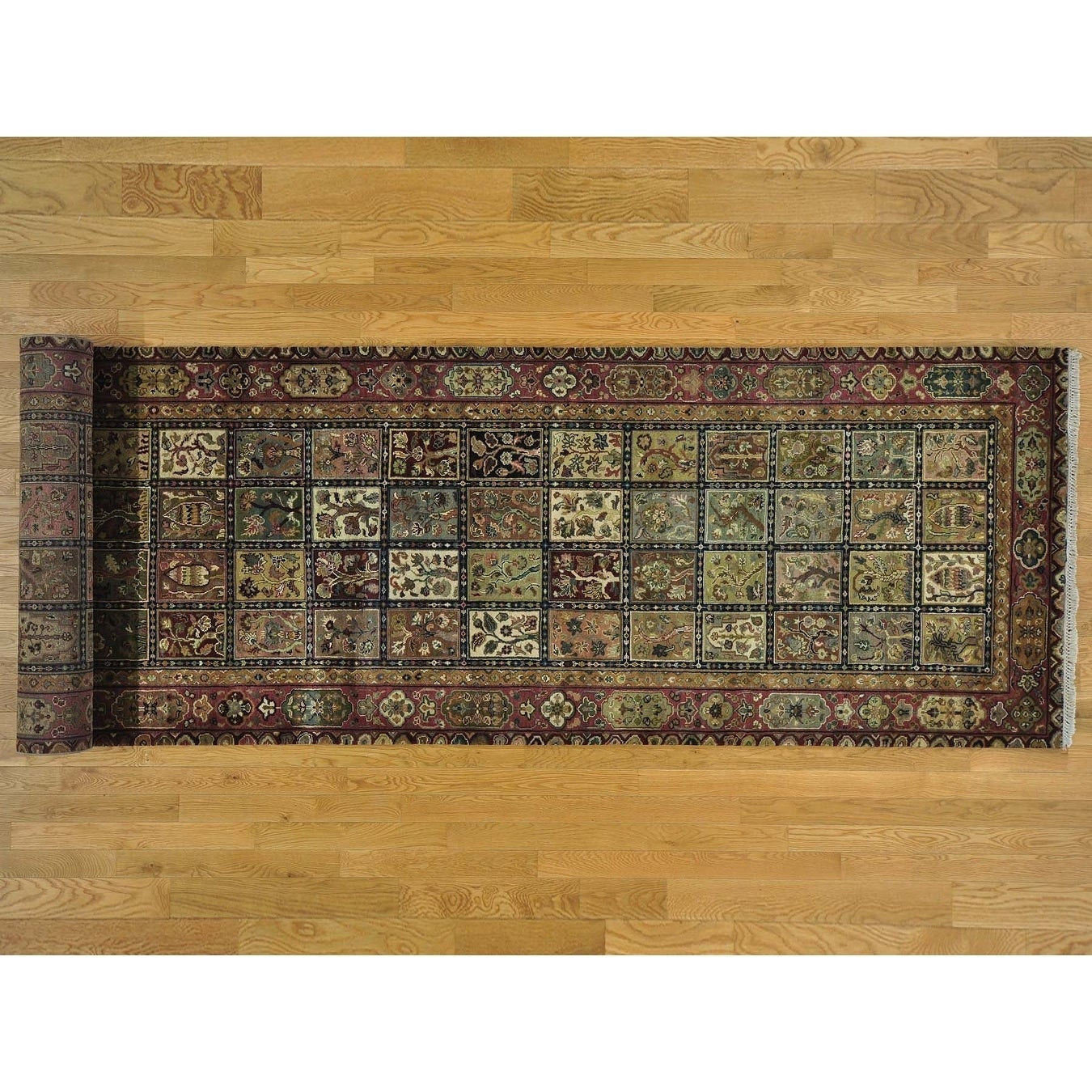 Hand Knotted Multicolored Fine Oriental with Wool Oriental Rug - 4' x 17'