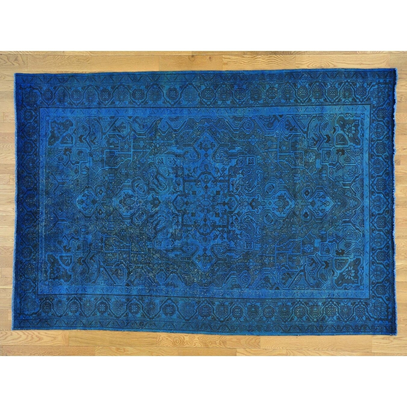 Hand Knotted Blue Overdyed & Vintage with Wool Oriental Rug - 6'10 x 10'