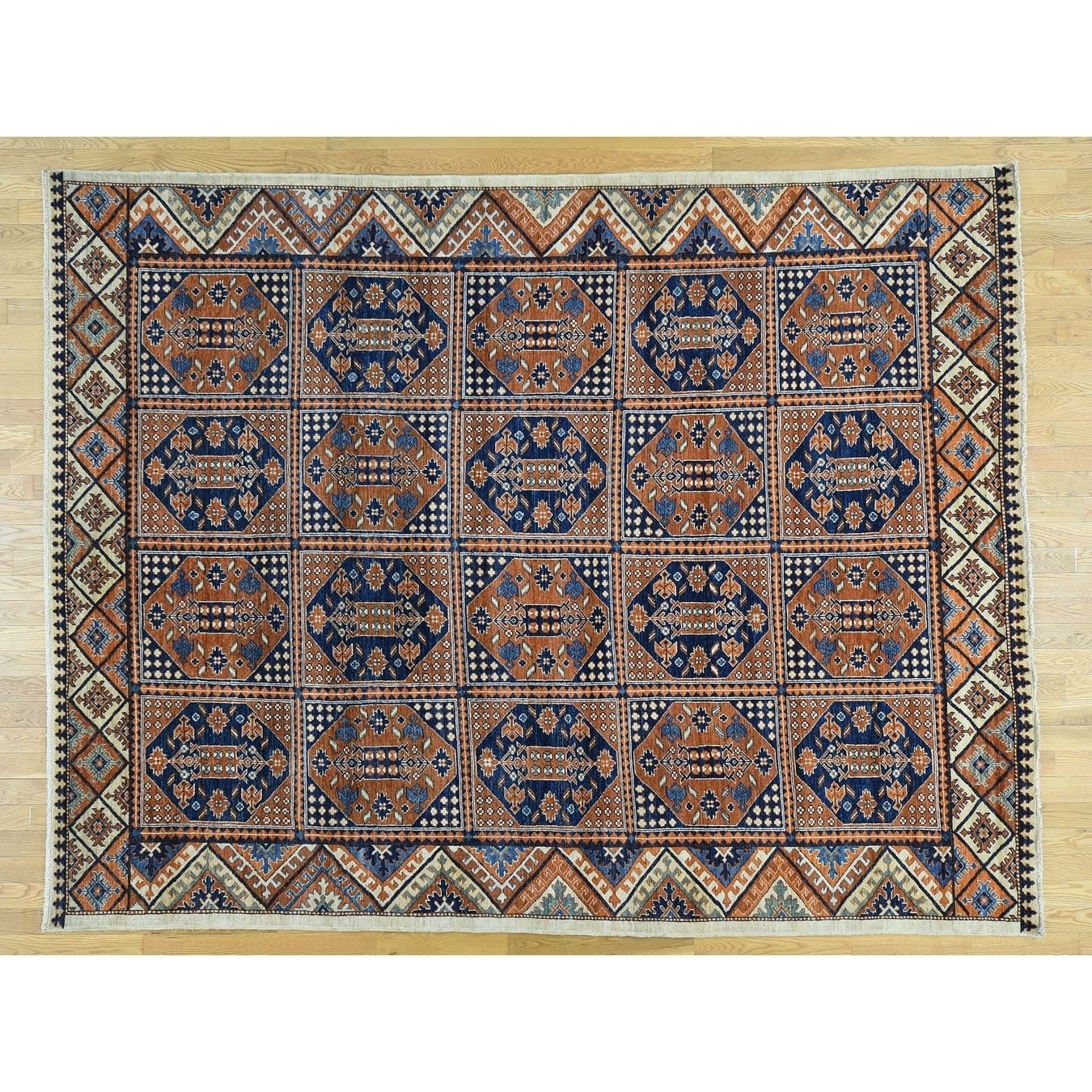 Hand Knotted Brown Tribal & Geometric with Wool Oriental Rug - 82 x 106