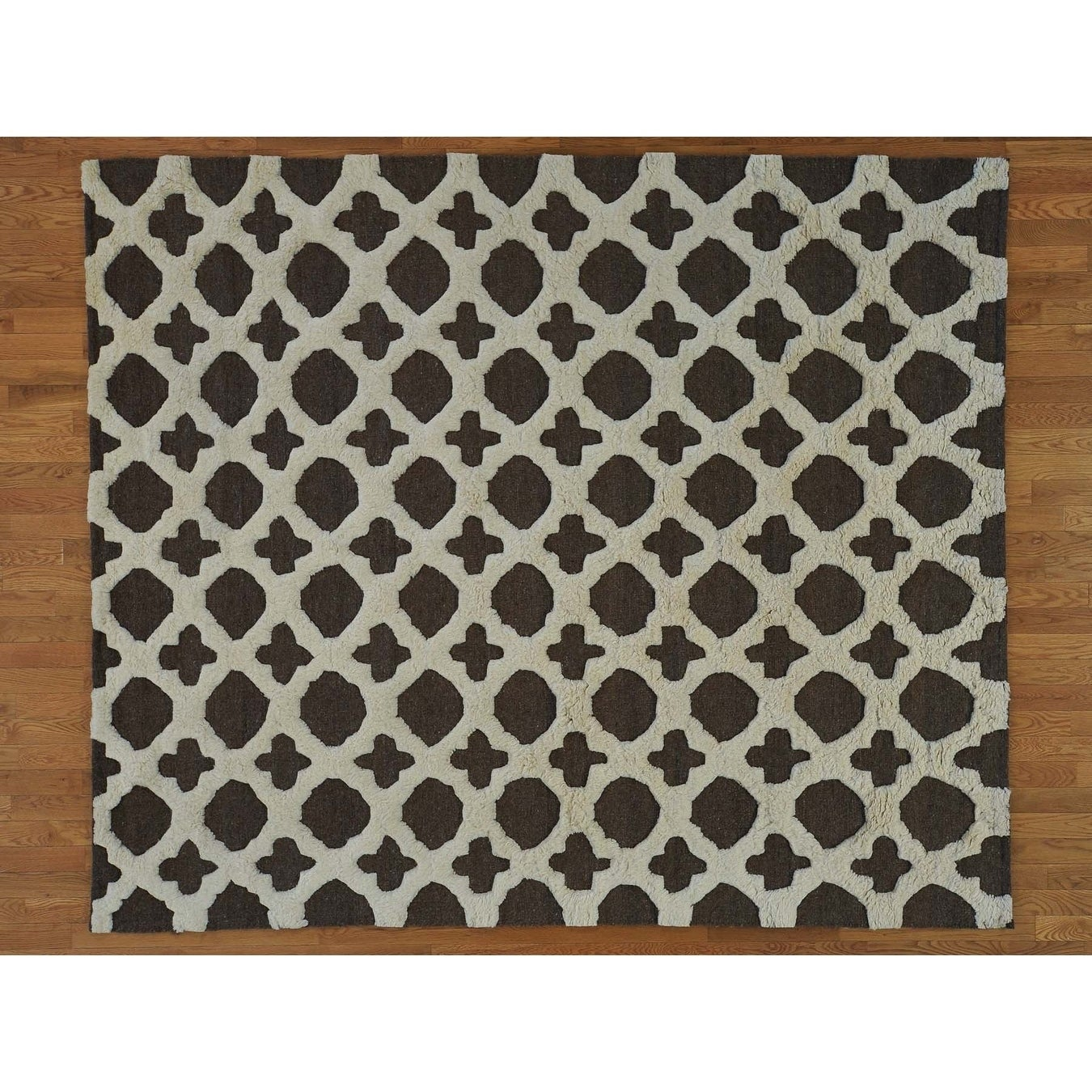 Hand Knotted Grey Modern & Contemporary with Wool Oriental Rug - 8'2 x 9'8