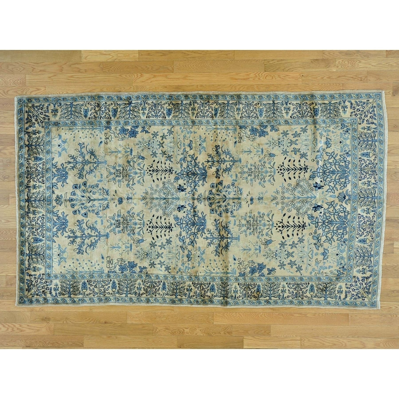 Hand Knotted Beige Antique with Wool Oriental Rug - 5' x 8'4