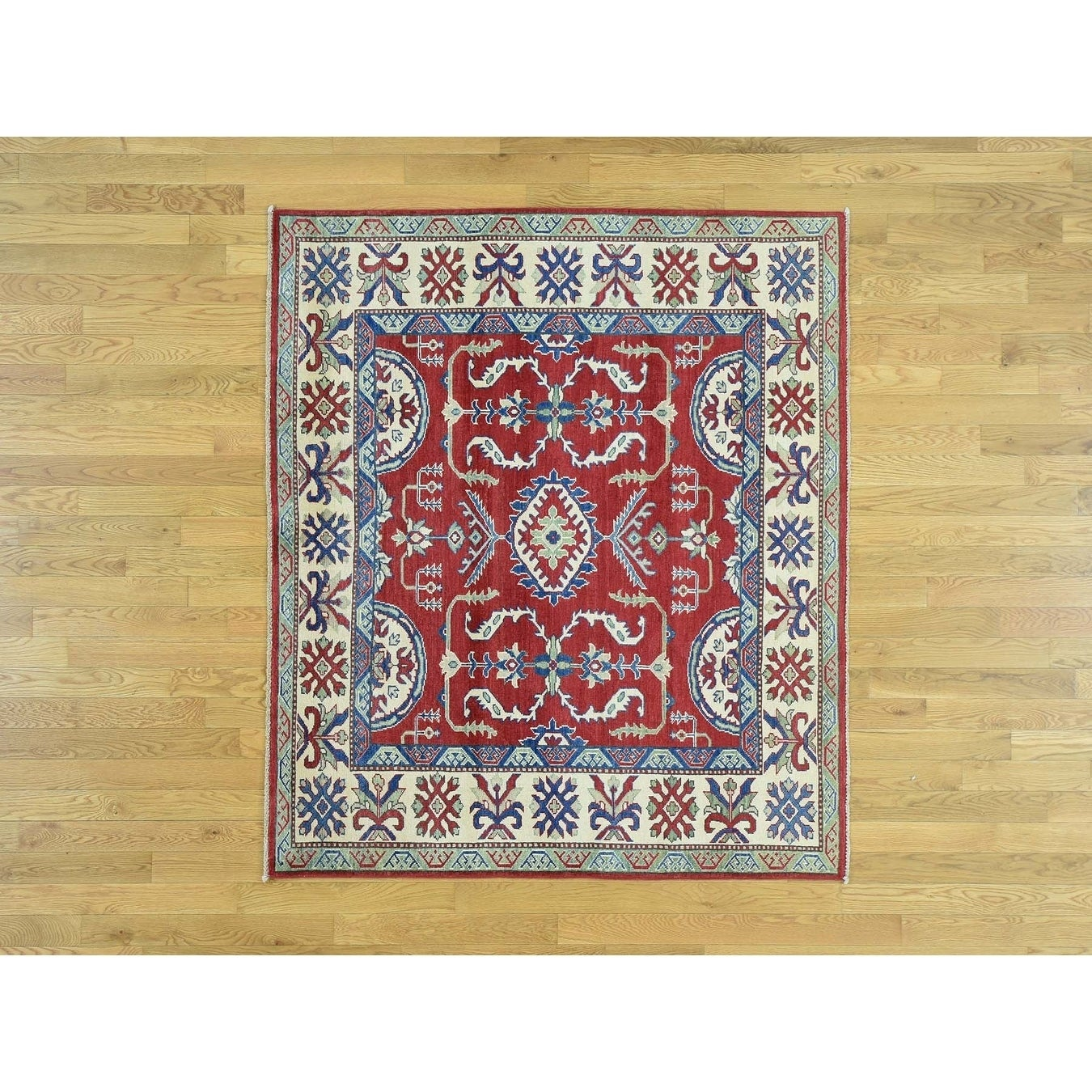 Hand Knotted Red Kazak with Wool Oriental Rug - 52 x 6