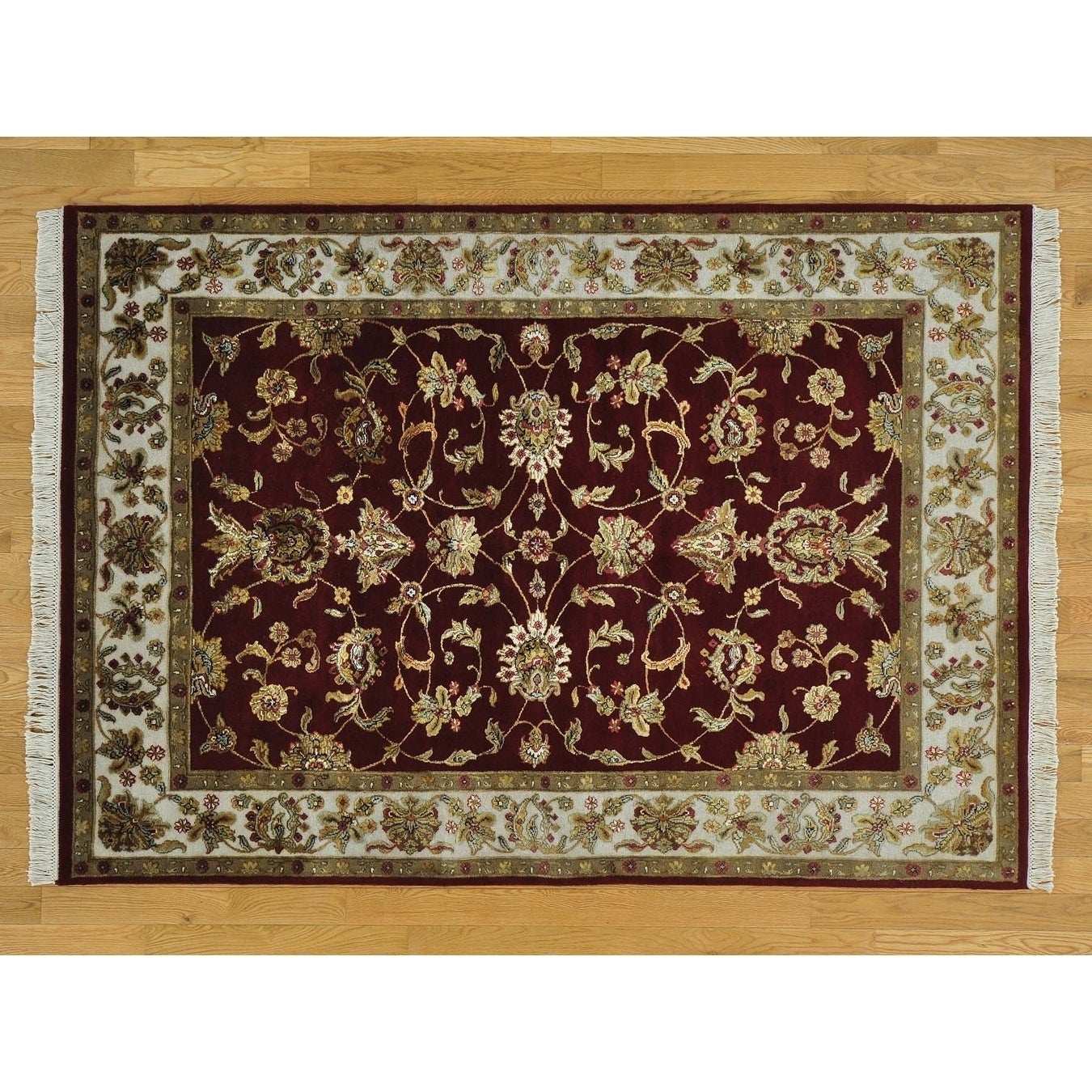 Hand Knotted Red Rajasthan with Wool & Silk Oriental Rug - 5' x 7'2
