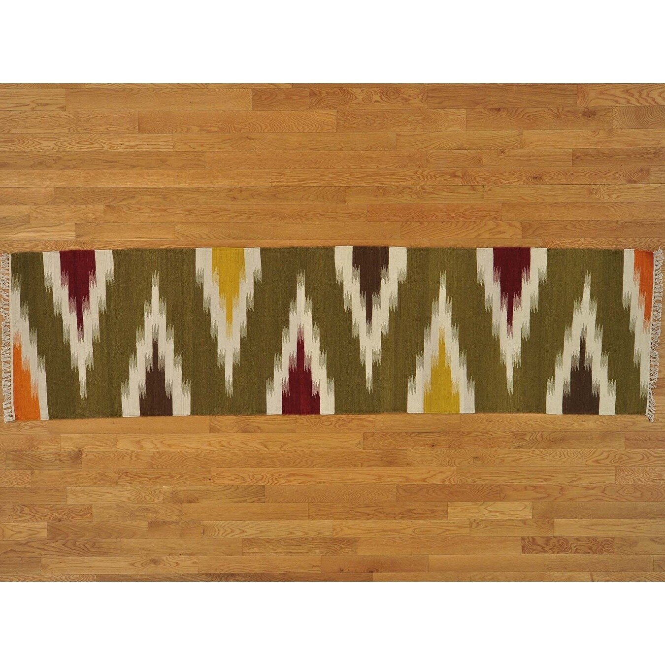 Hand Knotted Multicolored Flat Weave with Wool Oriental Rug - 2'7 x 10'