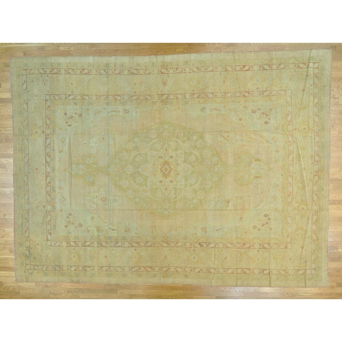 Hand Knotted Yellow Antique with Wool Oriental Rug