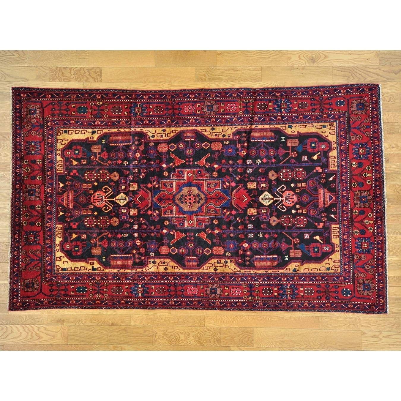 Hand Knotted Blue Persian with Wool Oriental Rug - 6 x 10