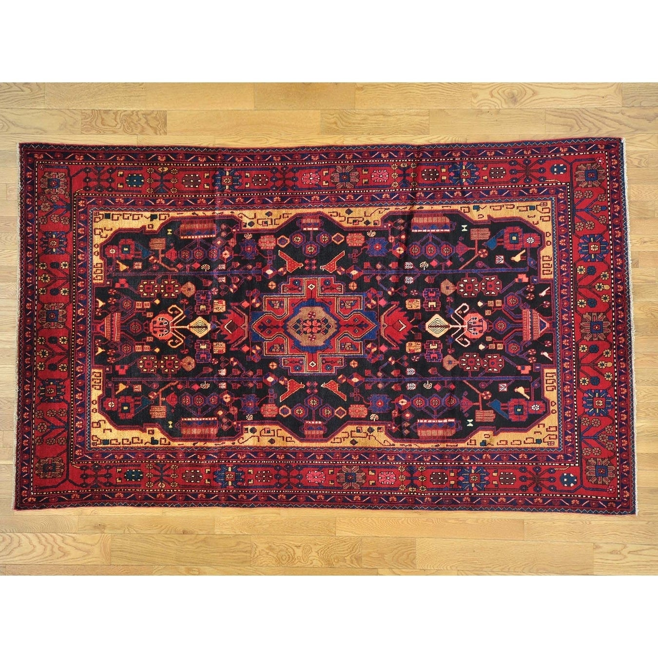 Hand Knotted Blue Persian with Wool Oriental Rug - 6' x 10'